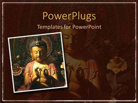 PowerPoint template displaying mosaic of Buddha with colorful flowers and white frame