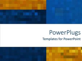 PowerPoint template displaying mosaic madness on rich blue and orange background