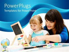 PowerPlugs: PowerPoint template with mother with a baby girl smiling learning an abacus