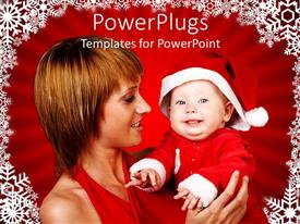 PowerPlugs: PowerPoint template with a mother and her baby wearing a christmas cap