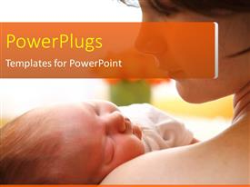 PowerPlugs: PowerPoint template with mother carrying beautiful baby in hand on cool background