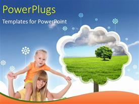 PowerPlugs: PowerPoint template with a mother carrying her child on her head with bluish background