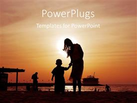 PowerPoint template displaying a mother and a child on a beach
