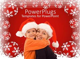 PowerPlugs: PowerPoint template with a mother with her child celebrating Christmas