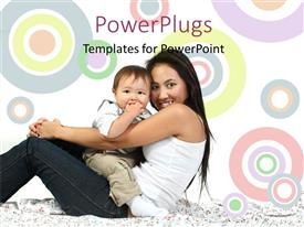 PowerPlugs: PowerPoint template with a mother with her child and colorful background