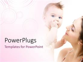 PowerPlugs: PowerPoint template with a mother with her child and pinkish background
