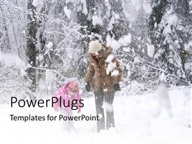 PowerPlugs: PowerPoint template with a mother with her child and snowfall in background