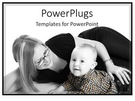 PowerPlugs: PowerPoint template with a mother with her child with white background