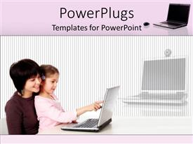 PowerPlugs: PowerPoint template with a mother with her child working on the laptop