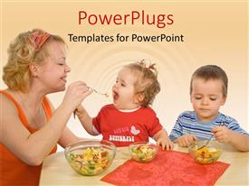 PowerPlugs: PowerPoint template with mother and children eating healthy food with yellow color