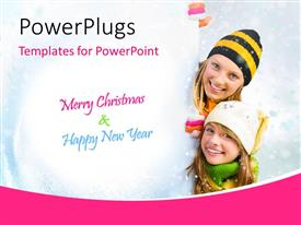 PowerPlugs: PowerPoint template with mother and daughter behind white holiday card