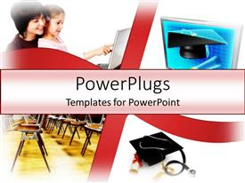 PowerPlugs: PowerPoint template with a mother and her daughter, chairs, and a stethoscope