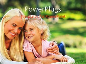 PowerPlugs: PowerPoint template with mother and daughter lying down on grass field happily smiling