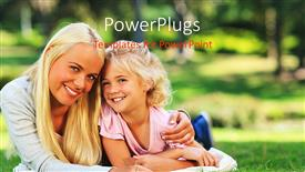 PowerPoint template displaying mother and daughter lying down on grass field happily smiling