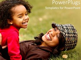 PowerPoint template displaying mother and daughter playing in the grass