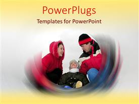 PowerPlugs: PowerPoint template with mother father and child dressed warmly for winter weather