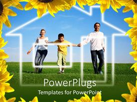 PowerPoint template displaying mother, father and child running toward home, dream house, real estate, mortgages, yellow flower border