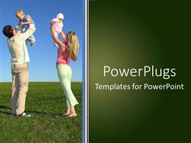 PowerPlugs: PowerPoint template with a mother and a father lifting their babies