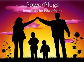 PowerPlugs: PowerPoint template with mother and father making heart silhouette over two children sunset background