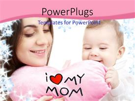 PowerPoint template displaying a mother happy with her child and pinkish background
