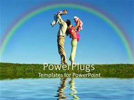 PowerPoint template displaying mother holding baby girl and father with little boy next to calm lake with rainbow