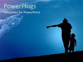 PowerPlugs: PowerPoint template with mother holding a child with a clear blue sky background