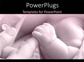 PowerPoint template displaying mother holding little baby safely in hands
