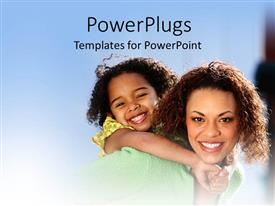 PowerPlugs: PowerPoint template with a mother with her kid and bluish background