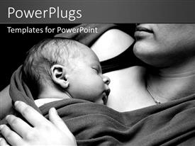 PowerPlugs: PowerPoint template with a mother with her newly born child