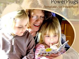 PowerPlugs: PowerPoint template with mother reading story to two girls, daughters, education, family