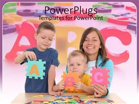 PowerPlugs: PowerPoint template with mother smiling happily and holding two boys leaning alphabets