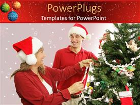 PowerPoint template displaying mother and son wearing Santa hats decorate Christmas tree