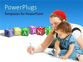 PowerPlugs: PowerPoint template with a mother teaching her child and learning blocks with a text that spells out the word 'Learning '