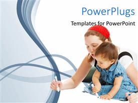 PowerPlugs: PowerPoint template with a mother teaching her young baby on a white background