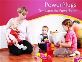 PowerPlugs: PowerPoint template with mother with three small children playing Legos