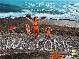 PowerPlugs: PowerPoint template with mother and two daughters with WELCOME sign made from stones on beach