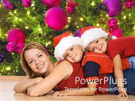 PowerPlugs: PowerPoint template with mother with two kids lying on her back in the Christmas spirit