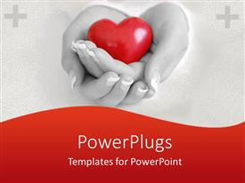 PowerPlugs: PowerPoint template with mother wife woman holding heart in hands health family hospital care