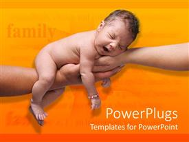 PowerPlugs: PowerPoint template with mother's and Fathers hands supporting yawning newborn baby