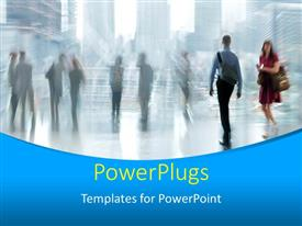 PowerPlugs: PowerPoint template with motion blur with people walking and standing