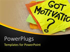 PowerPlugs: PowerPoint template with motivation post it sticky notes on canvas, business background with black wave border
