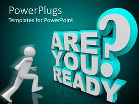 PowerPlugs: PowerPoint template with motivation, preparation metaphor with man running toward Are You Ready? question