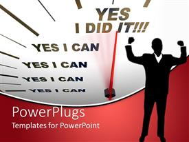 PowerPlugs: PowerPoint template with a motivational background with a determined figure in front