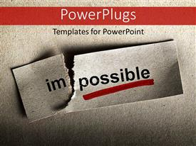 PowerPlugs: PowerPoint template with motivational concept with word impossible transformed into possible, grey texture