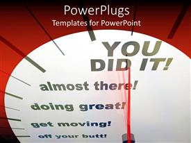 PowerPoint template displaying motivational speedometers showing progress from start to 'you did it'