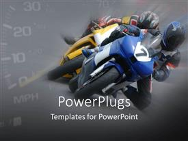 PowerPoint template displaying motor bike racing with faded speedometer showing in background