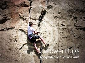 PowerPlugs: PowerPoint template with a mountain climber with mountain in the background