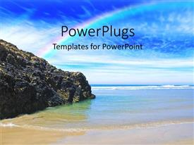 PowerPlugs: PowerPoint template with a mountain and  rainbow with the sea