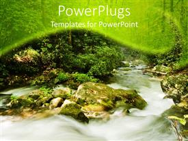 PowerPoint template displaying mountain stream rushing over rocks, white water
