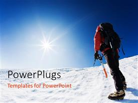 PowerPlugs: PowerPoint template with mountaineer reaching the top of a snowcapped mountain peak